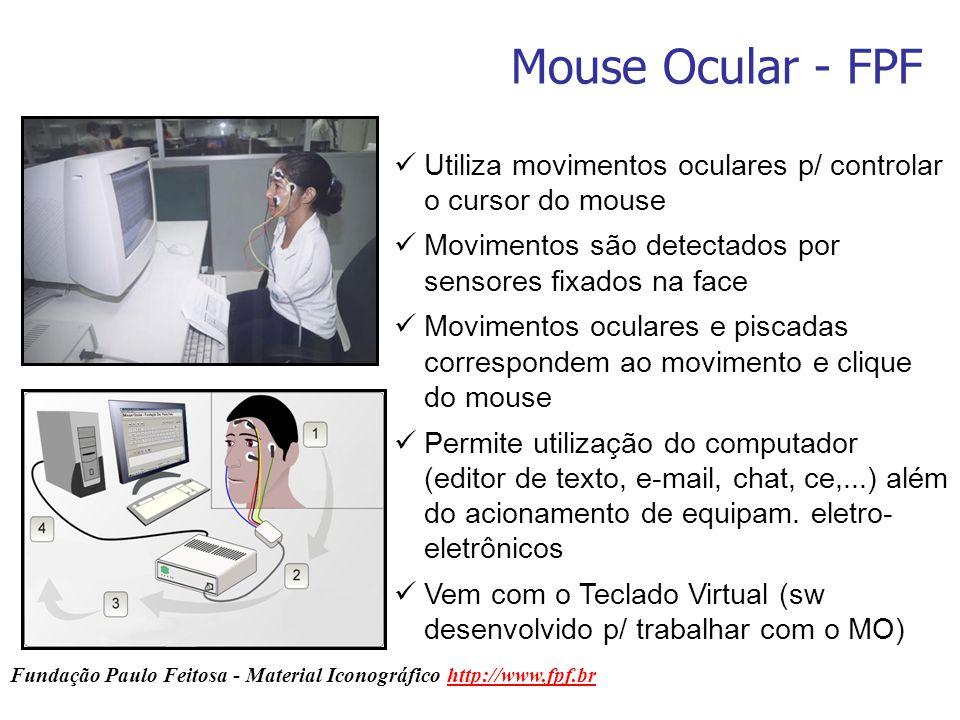 Mouse Ocular - FPF Utiliza movimentos oculares p/ controlar o cursor do mouse. Movimentos são detectados por sensores fixados na face.