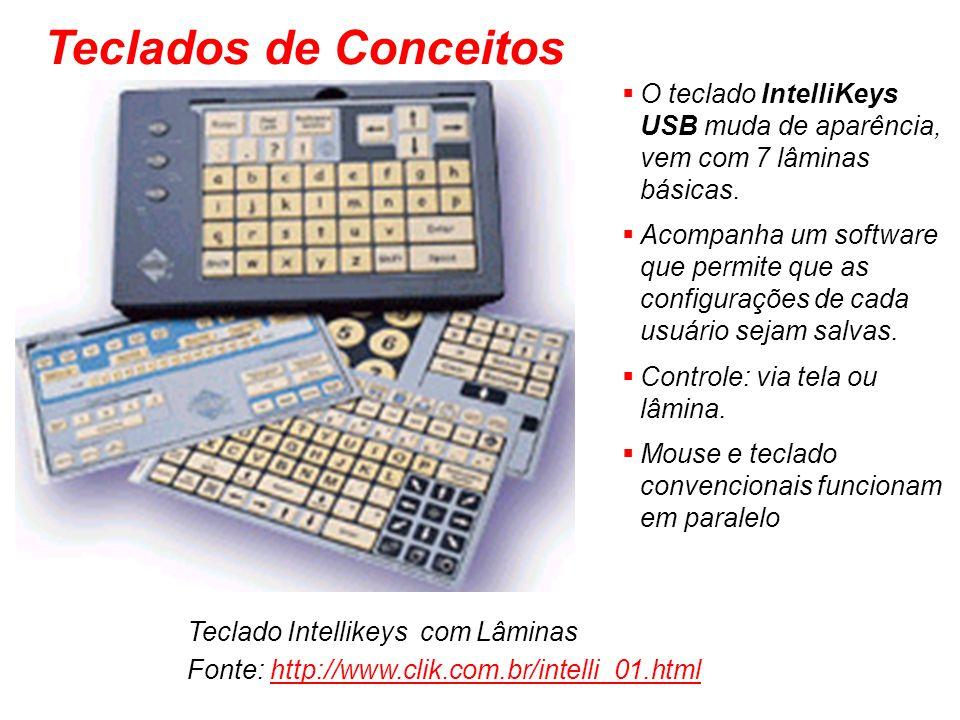 Teclados de Conceitos O teclado IntelliKeys USB muda de aparência, vem com 7 lâminas básicas.