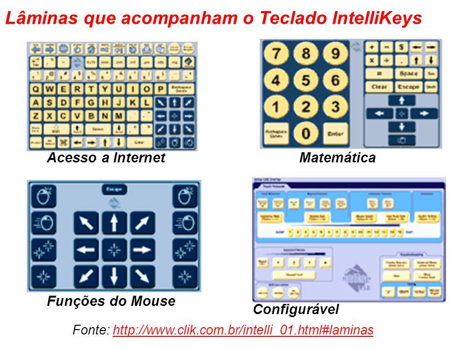 Lâminas que acompanham o Teclado IntelliKeys