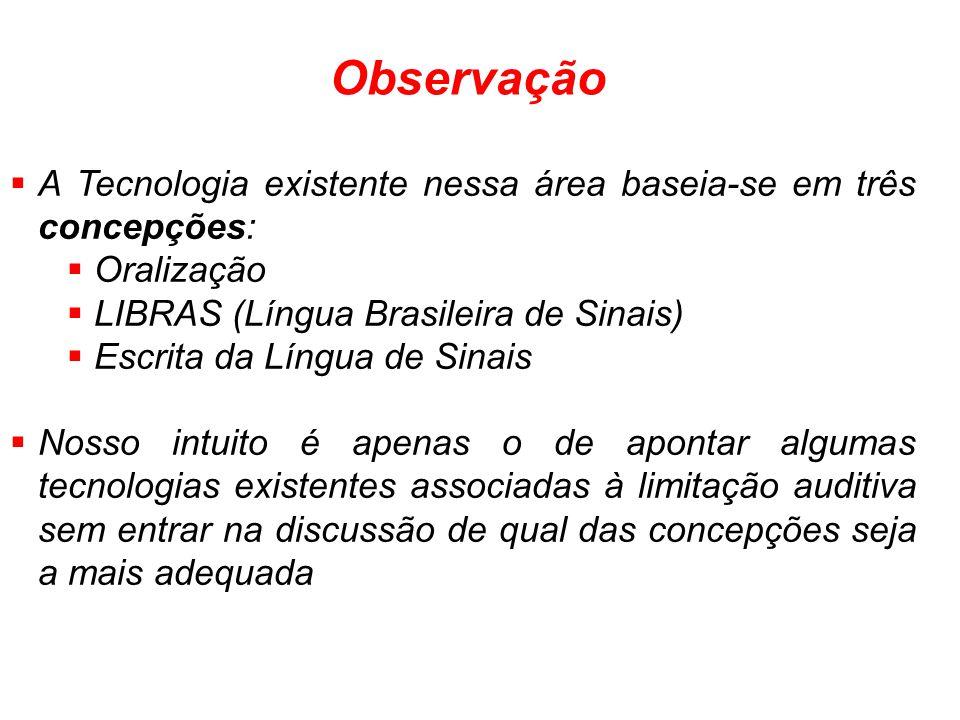 Observação A Tecnologia existente nessa área baseia-se em três concepções: Oralização. LIBRAS (Língua Brasileira de Sinais)