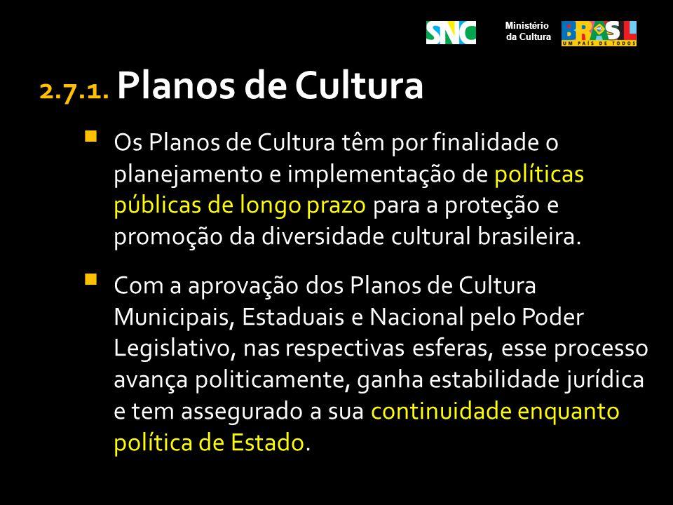 Ministério da Cultura. 2.7.1. Planos de Cultura.