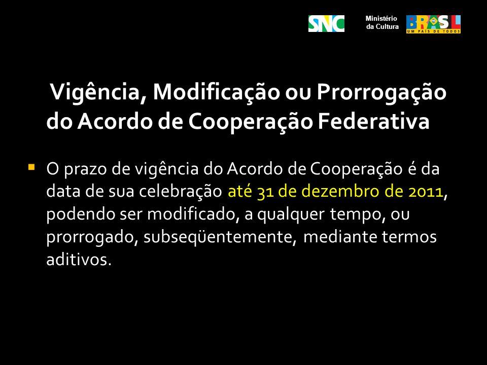 Ministério da Cultura. Vigência, Modificação ou Prorrogação do Acordo de Cooperação Federativa.
