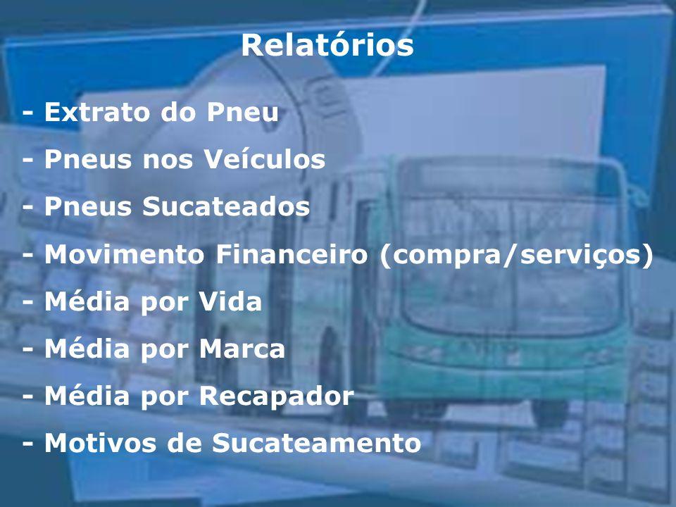 Relatórios - Extrato do Pneu - Pneus nos Veículos - Pneus Sucateados