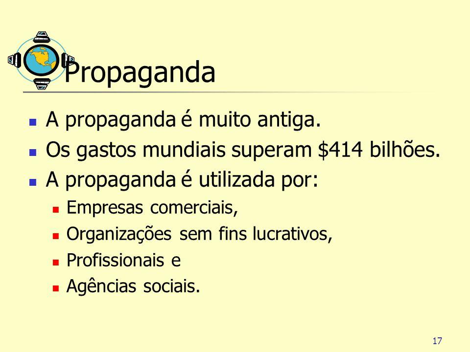 Propaganda A propaganda é muito antiga.
