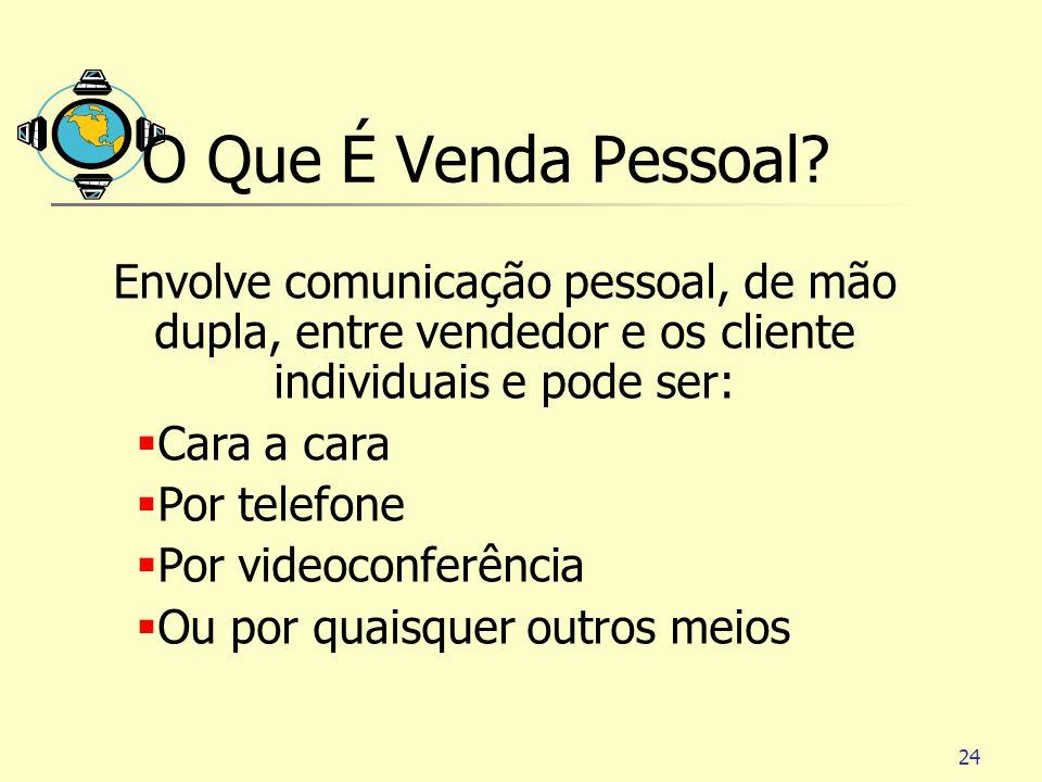 O Que É Venda Pessoal Envolve comunicação pessoal, de mão dupla, entre vendedor e os cliente individuais e pode ser: