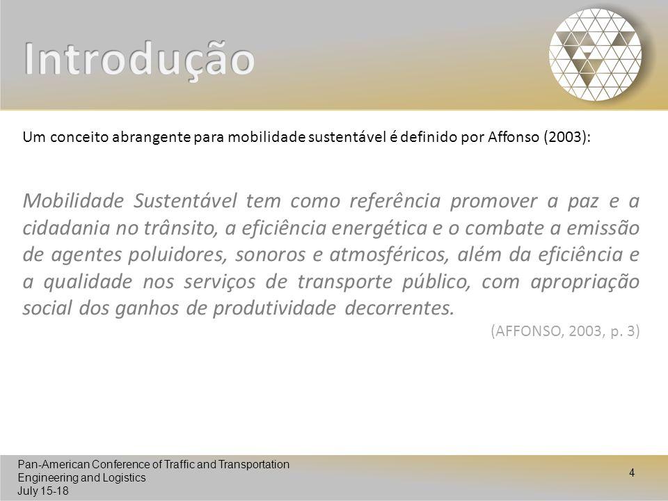 Introdução Um conceito abrangente para mobilidade sustentável é definido por Affonso (2003):