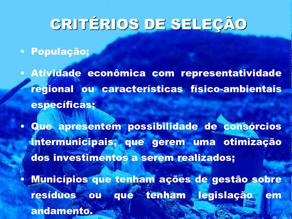 CRITÉRIOS DE SELEÇÃO População;