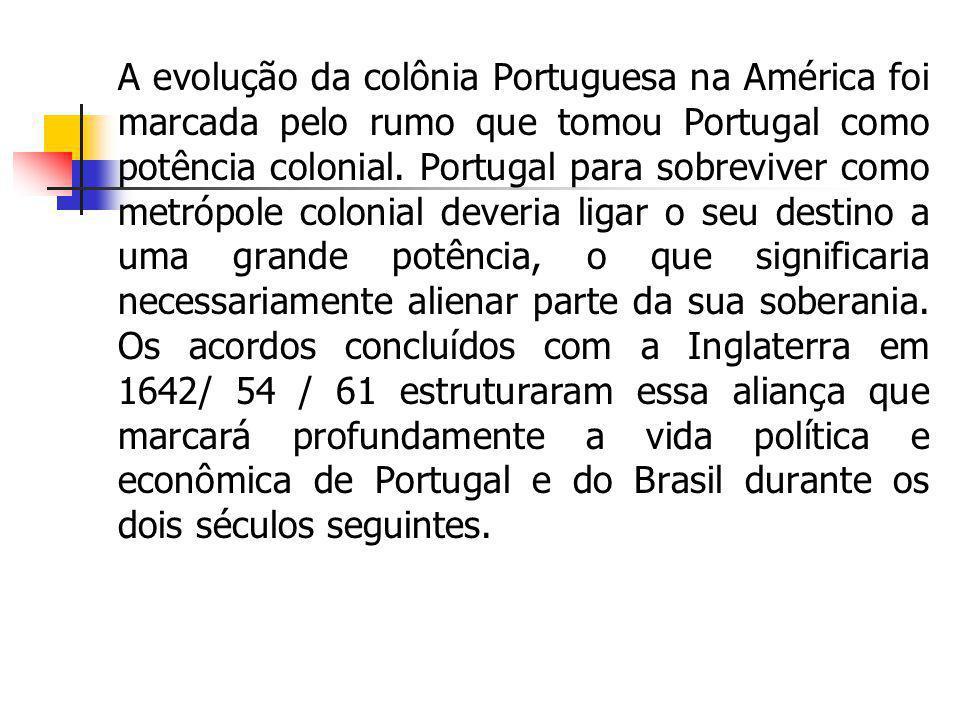 A evolução da colônia Portuguesa na América foi marcada pelo rumo que tomou Portugal como potência colonial.