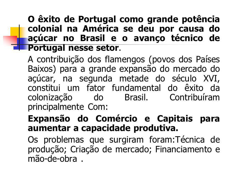 O êxito de Portugal como grande potência colonial na América se deu por causa do açúcar no Brasil e o avanço técnico de Portugal nesse setor.