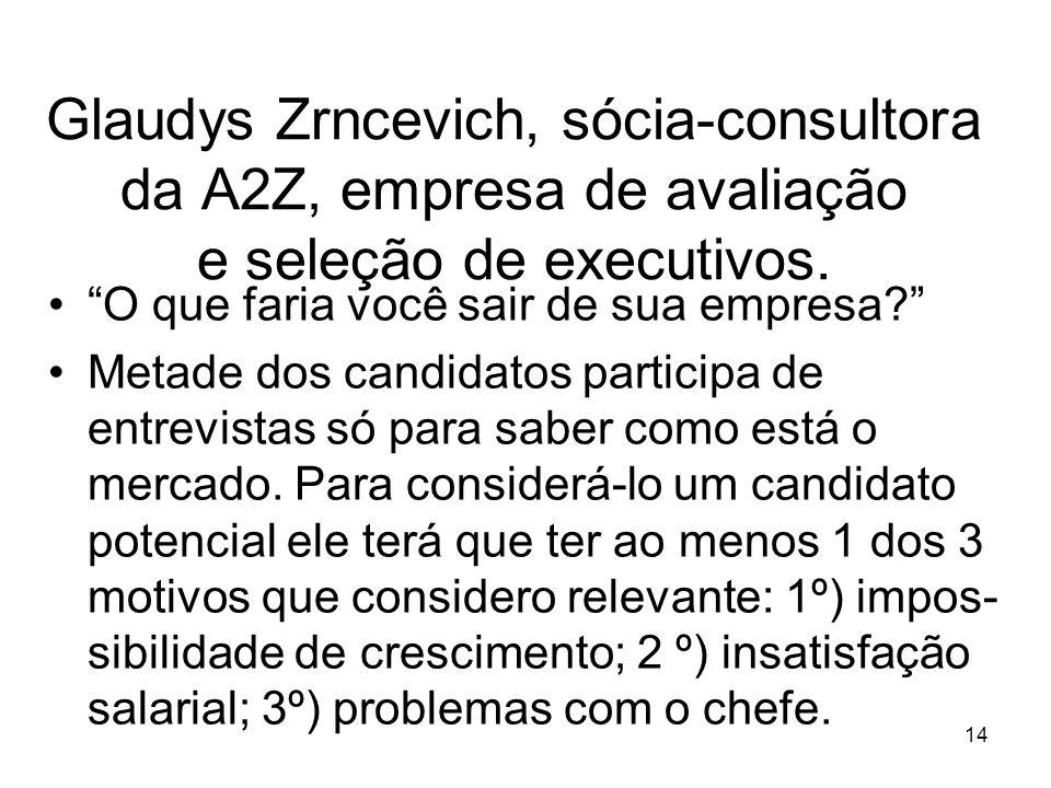 Glaudys Zrncevich, sócia-consultora da A2Z, empresa de avaliação e seleção de executivos.