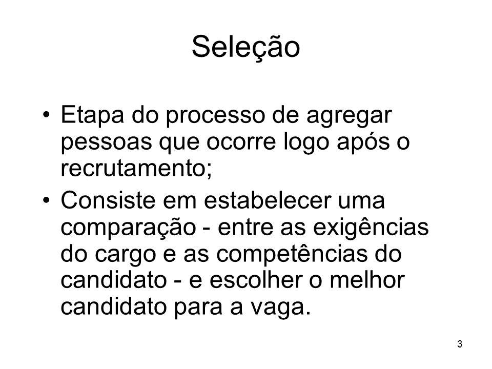 Seleção Etapa do processo de agregar pessoas que ocorre logo após o recrutamento;