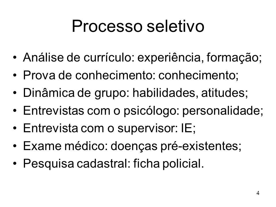 Processo seletivo Análise de currículo: experiência, formação;