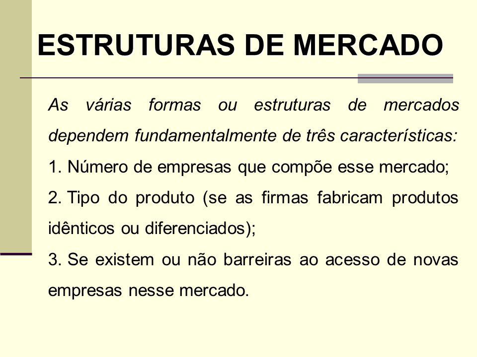 ESTRUTURAS DE MERCADO As várias formas ou estruturas de mercados dependem fundamentalmente de três características:
