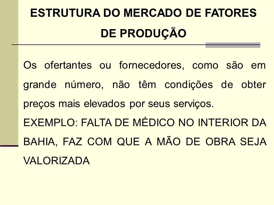ESTRUTURA DO MERCADO DE FATORES DE PRODUÇÃO