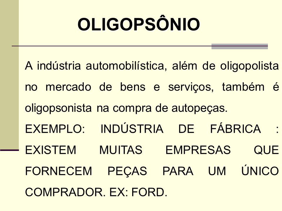 OLIGOPSÔNIO A indústria automobilística, além de oligopolista no mercado de bens e serviços, também é oligopsonista na compra de autopeças.