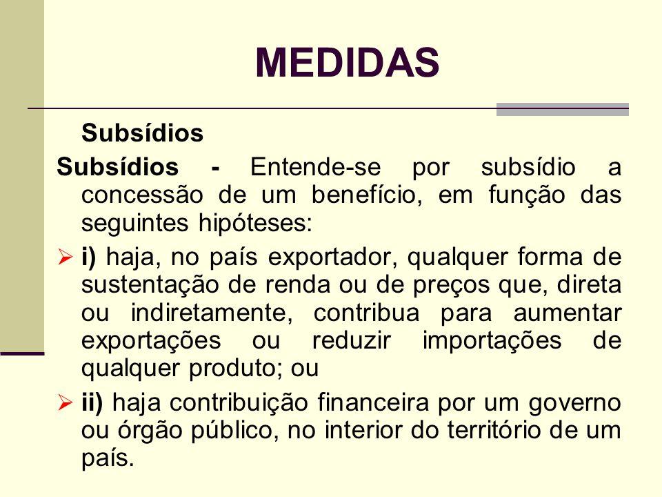 MEDIDAS Subsídios. Subsídios - Entende-se por subsídio a concessão de um benefício, em função das seguintes hipóteses: