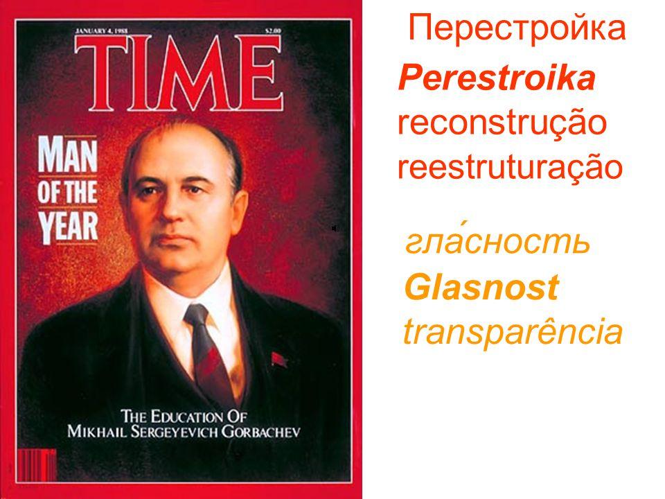 Перестройка Perestroika reconstrução reestruturação гла́сность Glasnost transparência