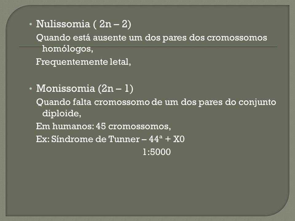 Nulissomia ( 2n – 2) Monissomia (2n – 1)