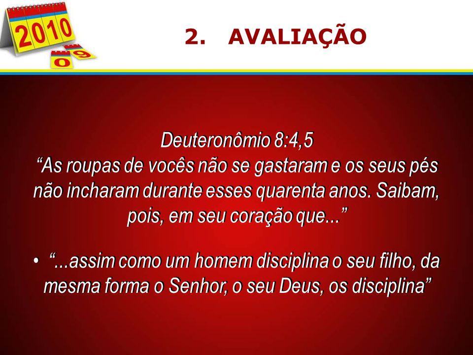 2. AVALIAÇÃO Deuteronômio 8:4,5.