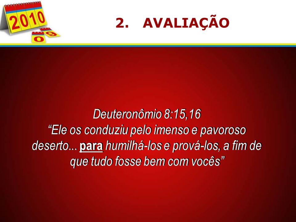 2. AVALIAÇÃO Deuteronômio 8:15,16.
