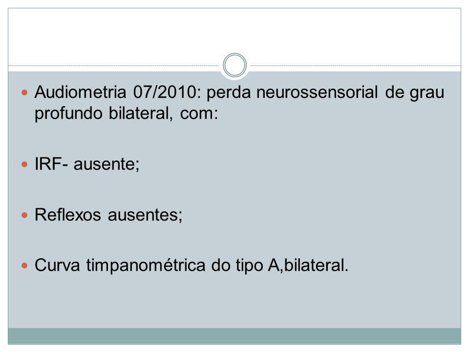 Audiometria 07/2010: perda neurossensorial de grau profundo bilateral, com: