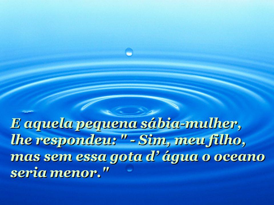 E aquela pequena sábia-mulher, lhe respondeu: - Sim, meu filho, mas sem essa gota d' água o oceano seria menor.