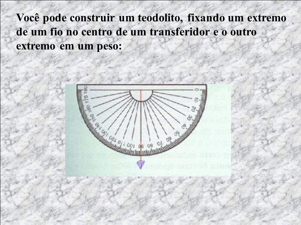 Você pode construir um teodolito, fixando um extremo de um fio no centro de um transferidor e o outro extremo em um peso:
