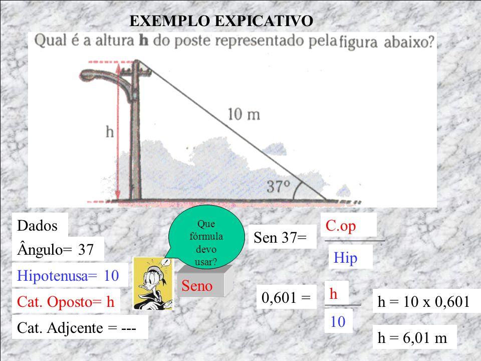 EXEMPLO EXPICATIVO Dados C.op Sen 37= Ângulo= 37 Hip Hipotenusa= 10