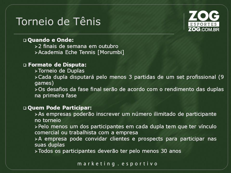Torneio de Tênis Quando e Onde: 2 finais de semana em outubro