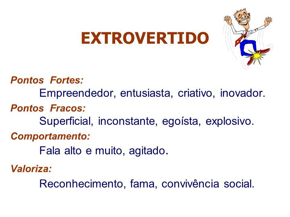 EXTROVERTIDO Reconhecimento, fama, convivência social.