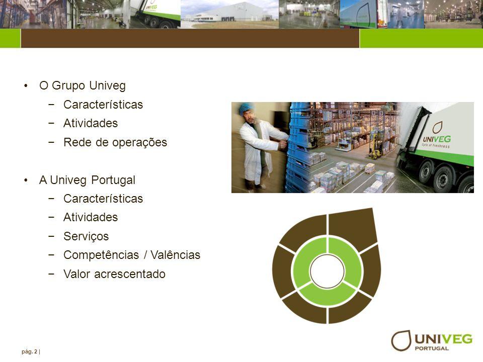 Agenda O Grupo Univeg Características Atividades Rede de operações