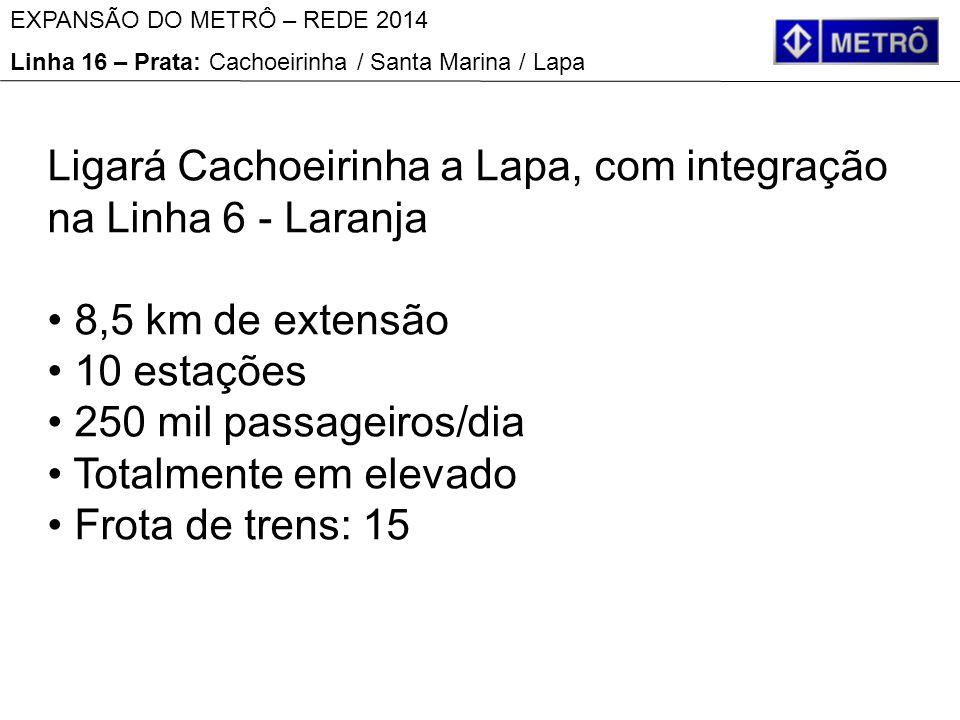 Ligará Cachoeirinha a Lapa, com integração na Linha 6 - Laranja