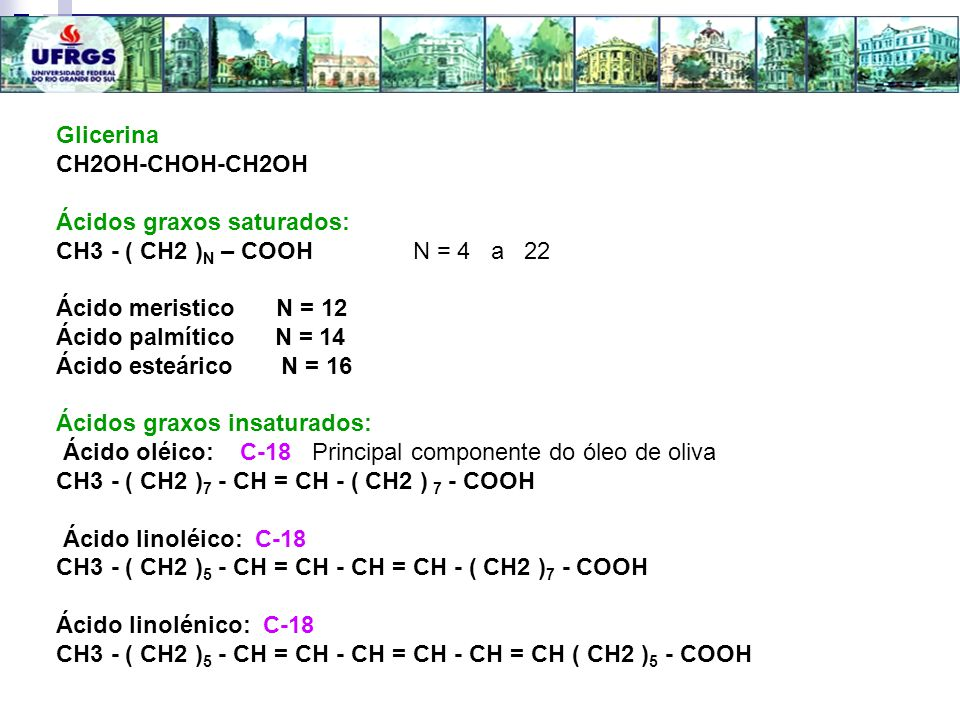 Glicerina CH2OH-CHOH-CH2OH. Ácidos graxos saturados: CH3 - ( CH2 )N – COOH N = 4 a 22.