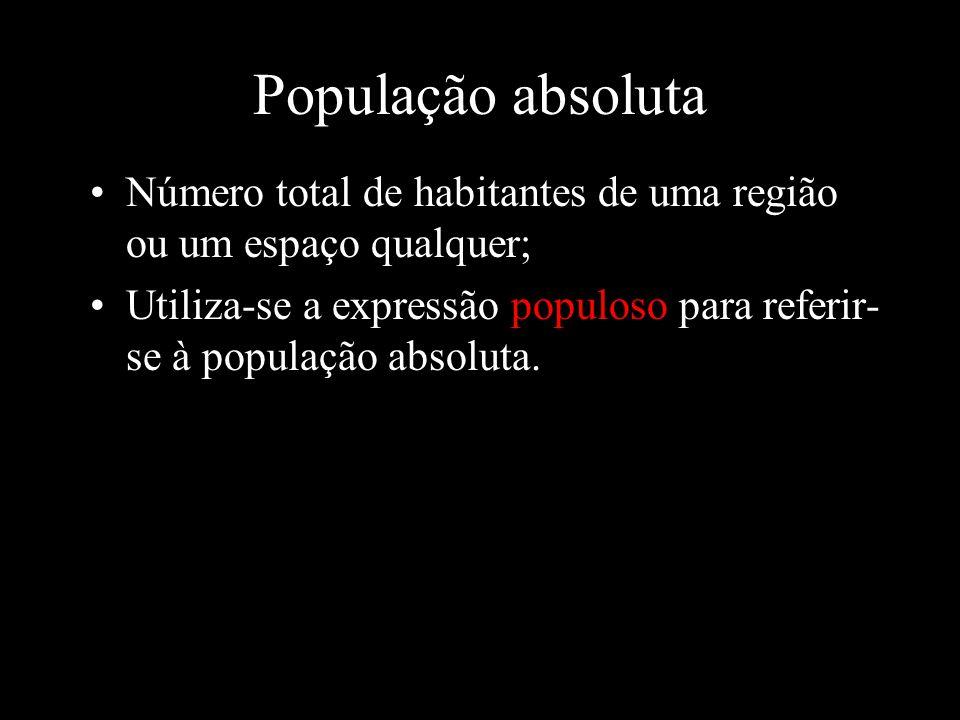 População absoluta Número total de habitantes de uma região ou um espaço qualquer;