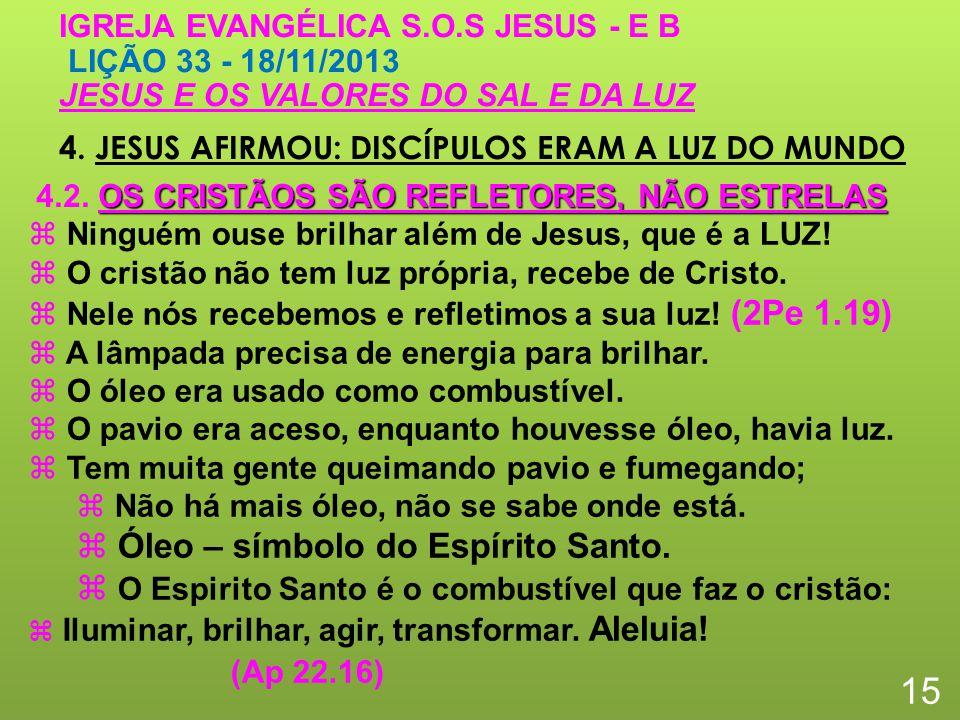 4. JESUS AFIRMOU: DISCÍPULOS ERAM A LUZ DO MUNDO