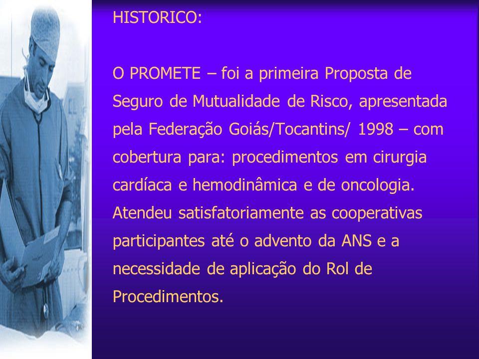 HISTORICO: O PROMETE – foi a primeira Proposta de Seguro de Mutualidade de Risco, apresentada pela Federação Goiás/Tocantins/ 1998 – com cobertura para: procedimentos em cirurgia cardíaca e hemodinâmica e de oncologia.