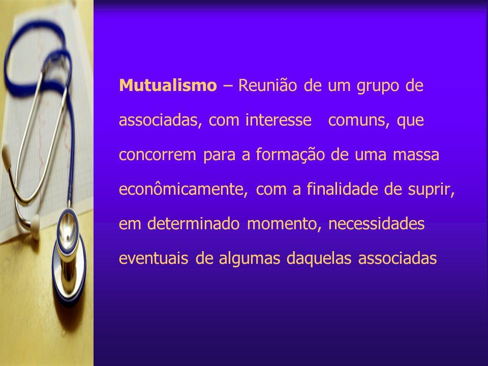 Mutualismo – Reunião de um grupo de associadas, com interesse comuns, que concorrem para a formação de uma massa econômicamente, com a finalidade de suprir, em determinado momento, necessidades eventuais de algumas daquelas associadas
