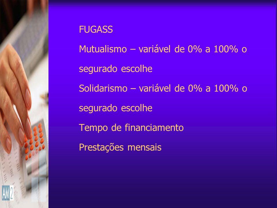 FUGASS Mutualismo – variável de 0% a 100% o segurado escolhe Solidarismo – variável de 0% a 100% o segurado escolhe Tempo de financiamento Prestações mensais