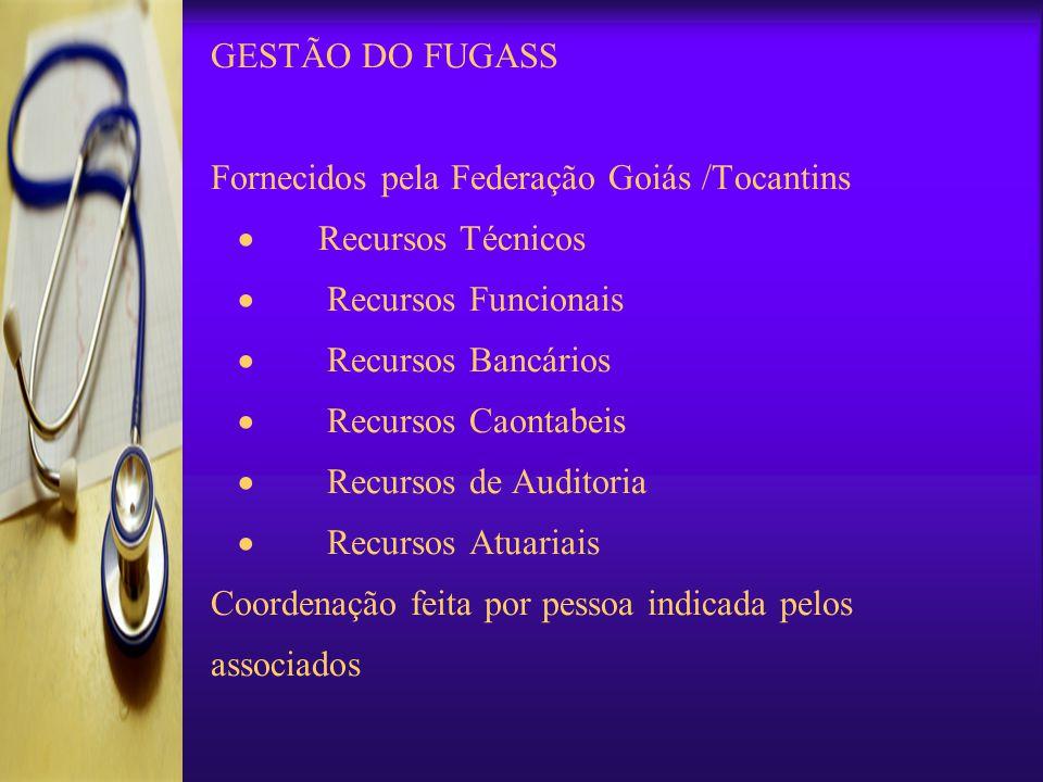 GESTÃO DO FUGASS Fornecidos pela Federação Goiás /Tocantins · Recursos Técnicos · Recursos Funcionais · Recursos Bancários · Recursos Caontabeis · Recursos de Auditoria · Recursos Atuariais Coordenação feita por pessoa indicada pelos associados