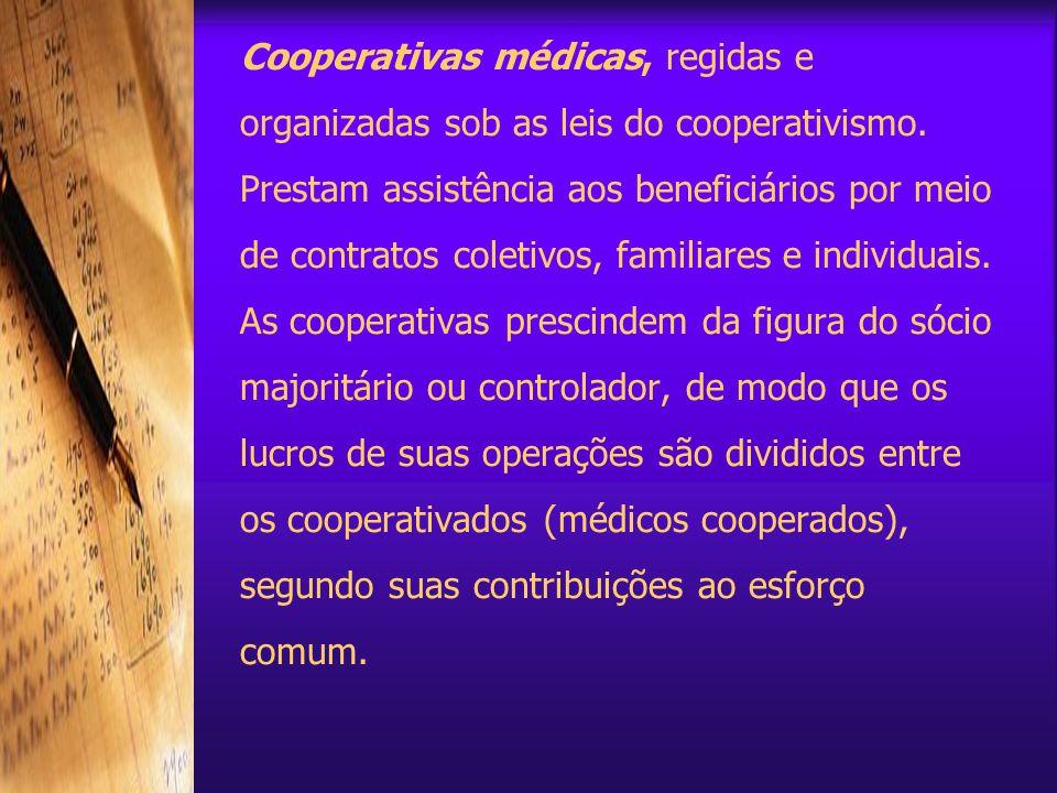 Cooperativas médicas, regidas e organizadas sob as leis do cooperativismo.