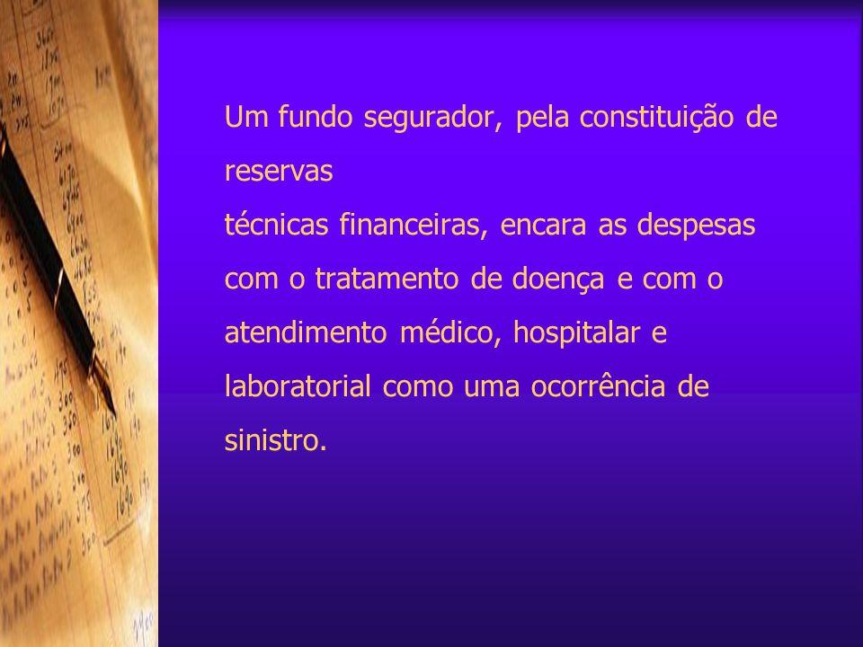 Um fundo segurador, pela constituição de reservas técnicas financeiras, encara as despesas com o tratamento de doença e com o atendimento médico, hospitalar e laboratorial como uma ocorrência de sinistro.