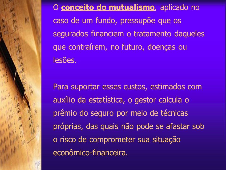 O conceito do mutualismo, aplicado no caso de um fundo, pressupõe que os segurados financiem o tratamento daqueles que contraírem, no futuro, doenças ou lesões.