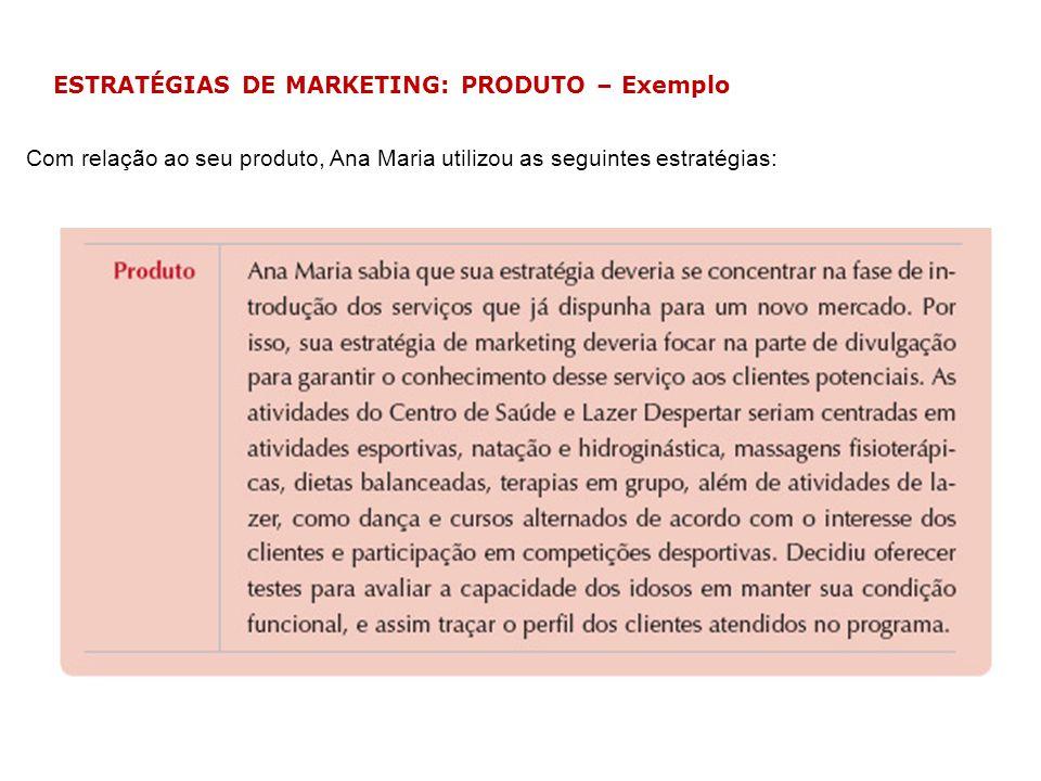 ESTRATÉGIAS DE MARKETING: PRODUTO – Exemplo