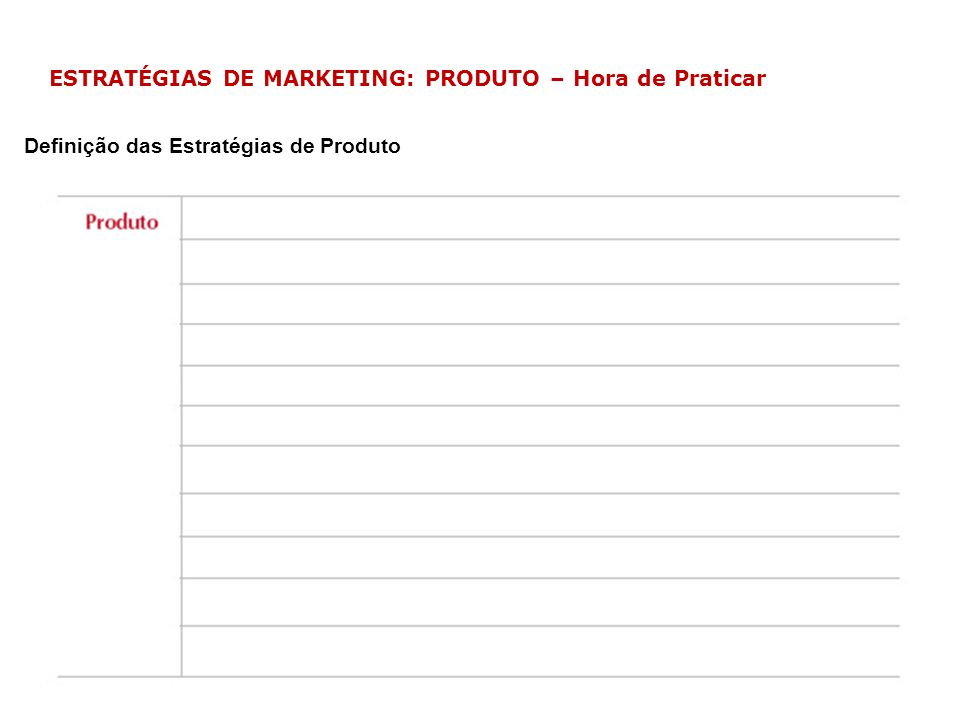 ESTRATÉGIAS DE MARKETING: PRODUTO – Hora de Praticar