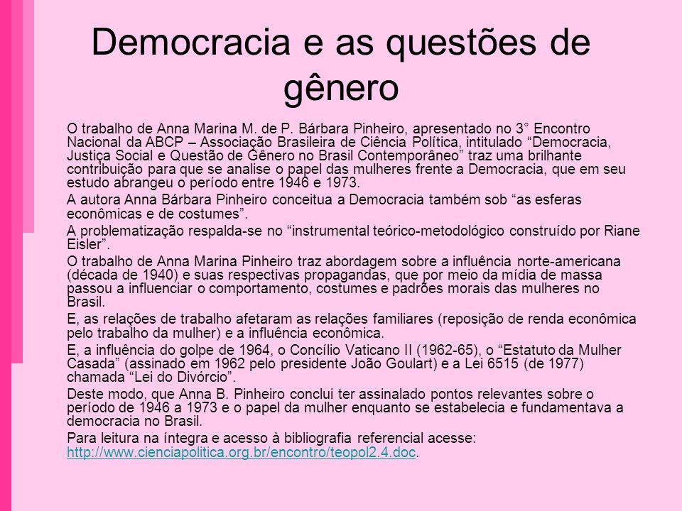 Democracia e as questões de gênero