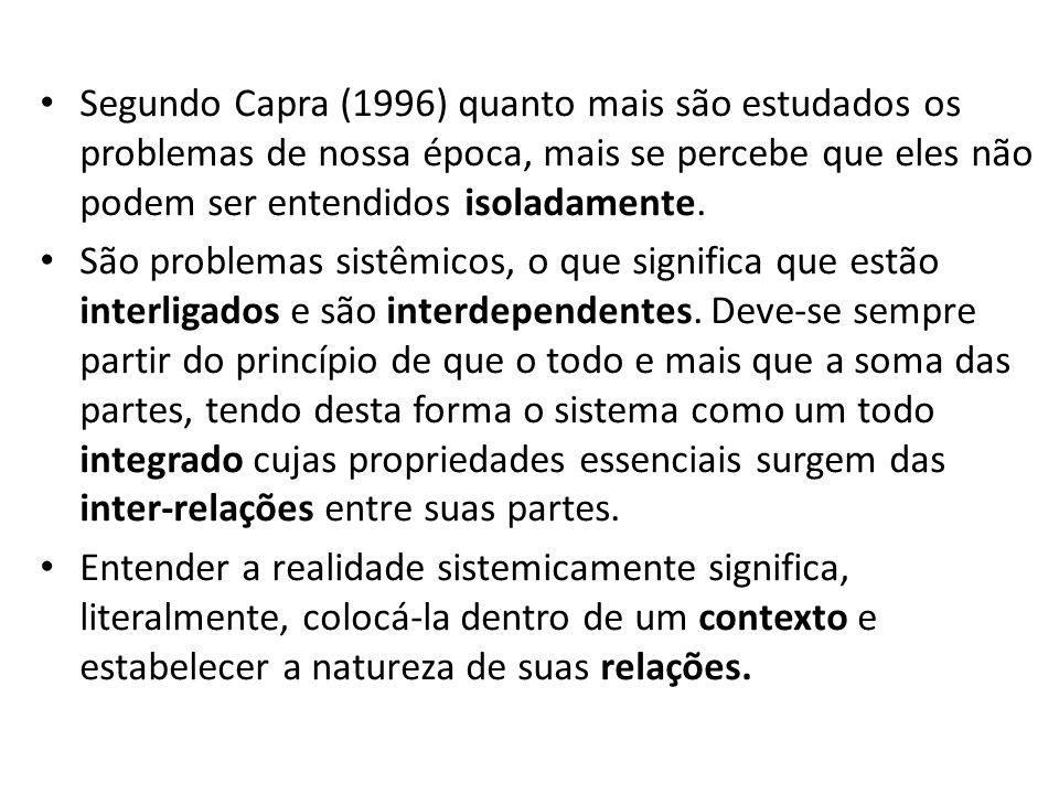Segundo Capra (1996) quanto mais são estudados os problemas de nossa época, mais se percebe que eles não podem ser entendidos isoladamente.