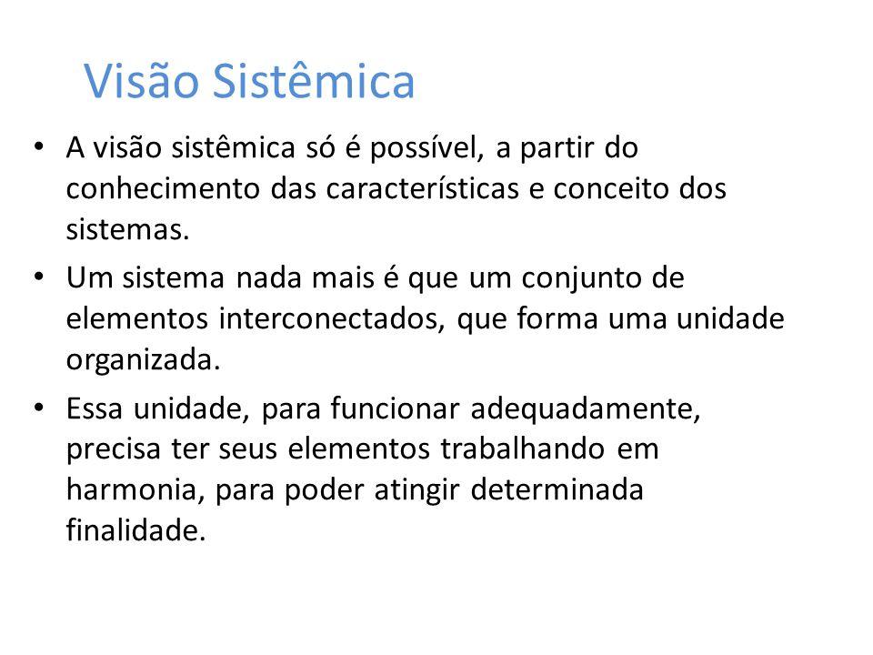 Visão Sistêmica A visão sistêmica só é possível, a partir do conhecimento das características e conceito dos sistemas.