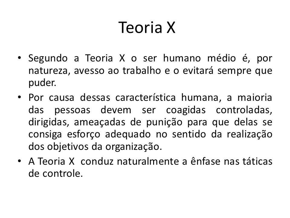 Teoria X Segundo a Teoria X o ser humano médio é, por natureza, avesso ao trabalho e o evitará sempre que puder.