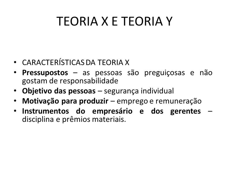 TEORIA X E TEORIA Y CARACTERÍSTICAS DA TEORIA X