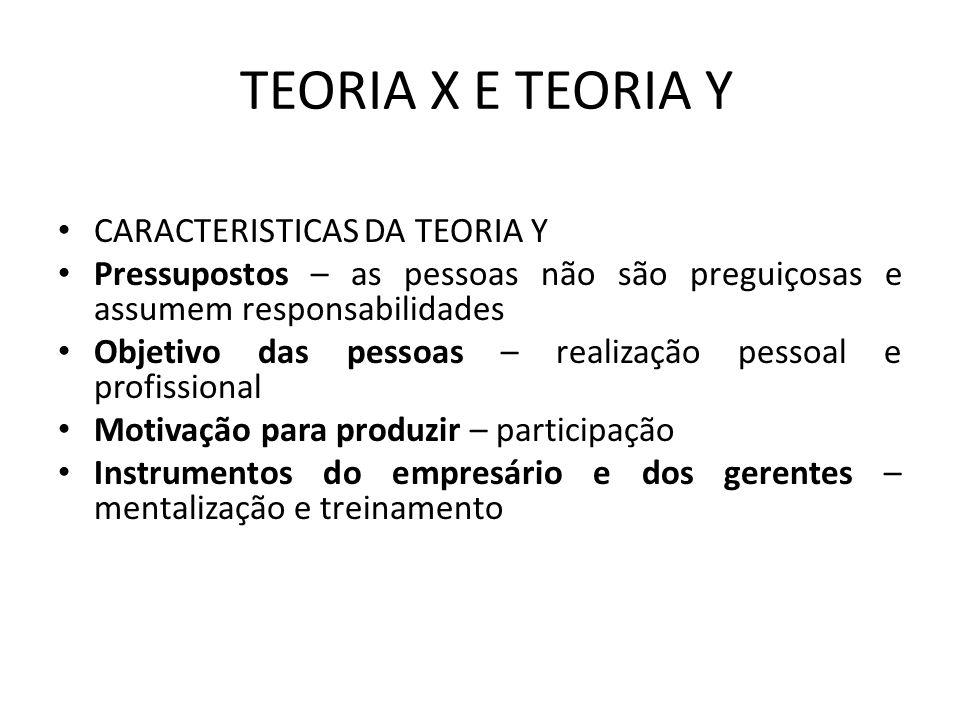 TEORIA X E TEORIA Y CARACTERISTICAS DA TEORIA Y